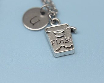 Silve Floss Charm Necklace Dental  Necklace Floss Bottle Charm Floss Charm Floss Gift Floss Jewelry Initial Charm Initial Necklace