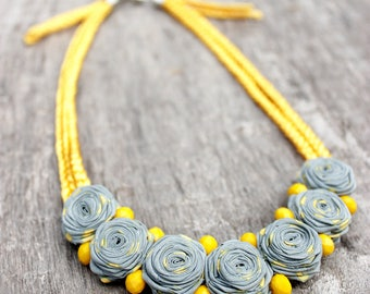 Summer outdoors Collar necklace Rustic jewelry Yellow gray necklace Birthday gift|for|her Fabric jewelry Gift|for|wife Modern Bead necklace