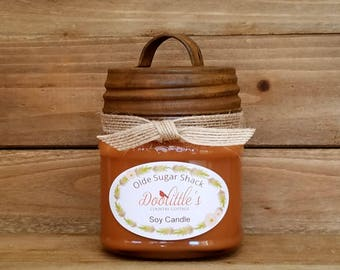Candle - Soy Candle - Maple Candle, 8 oz Candle, Natural Candle, Brown Candle, Mason Jar Candle, 8 oz Soy Candle, Rustic Country Candle