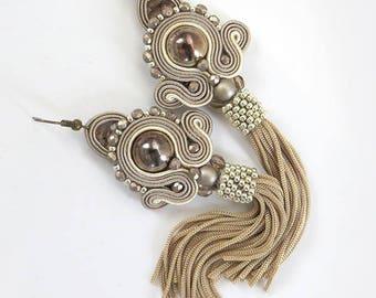 Long Beaded Beige Tassel Earrings On Studs Oscar De La Renta Earring Style, Beige Earrings, Cappuccino earrings Champagne earrings