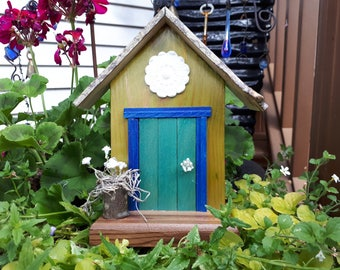 Turquoise Fairy Door with Decorative Medallion and Fairy Flower Pot