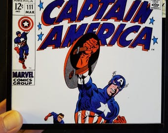 Re-purposed cigar box decorated inside & out w/unique Silver Age design using photocopies of vintage 70s Captain America Jim Steranko covers