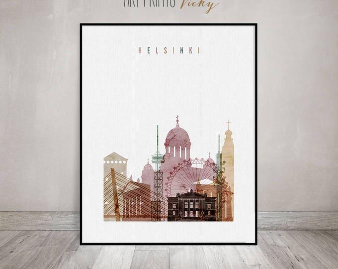 Helsinki print, Helsinki wall art, Poster, Helsinki skyline, Helsinki watercolor, Travel gift, Finland, Home Decor ArtPrintsVicky