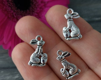 Easter Bunny Charms, Easter Charms, 5/10/20pc, Rabbit Charms, Easter Egg, Antique Silver, Bunny Charms, CH468