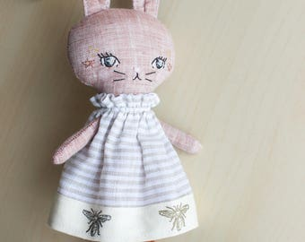"Little Linen Bunny Rabbit Doll about 9.5"" tall by Liberty Lavender Dolls."