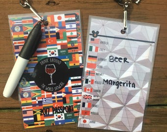 Drink Around the World Showcase Epcot Passport with Lanyard and Marker - WINE DRINKERS -