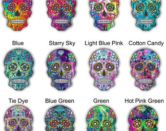 Sugar Skull lilly inspired Mexican day of the dead sticker for yeti car truck or laptop decal tie dye and swirl  patterns **Free Shipping**