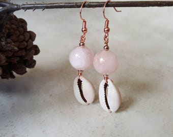 Rose Quartz Earrings - Cowrie Shell Earrings - Copper Earrings - Shell Earrings - Bohemian Earrings - Tribal Earrings - Healing Earrings