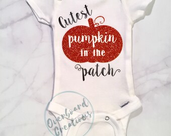 Cutest pumpkin in the patch baby costume 1st halloween customizable bodysuit fall baby shower gift boy or girl
