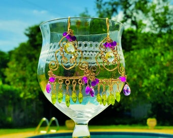 Amethyst Chandelier Earrings, Multi Color Chandelier Earrings, Purple Chandelier Earrings