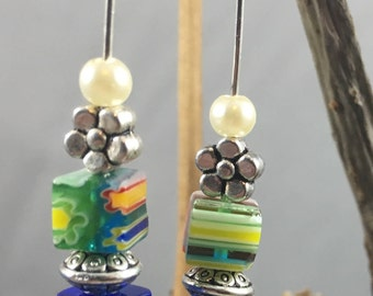 petiite flower and pear dangles
