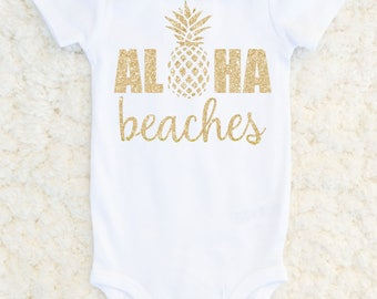 Aloha Beaches Bodysuit, Pineapple Glitter Bodysuit, Baby Shower Gift, Gold Tshirt, Baby Girl Outfit, Summer Baby One Piece, Carters Bodysuit
