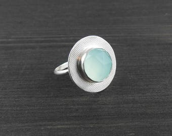 Statement ring Bold ring ,Aqua chalcedony ring gemstone jewelry modern ring, silversmith jewelry boho gift gift for her