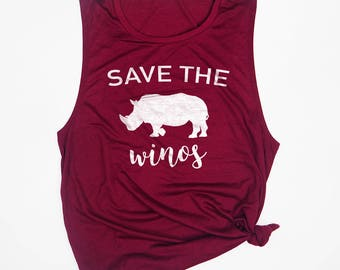 Save the Winos - Wine Drinking Shirt - Wine Workout Tanks - Womens Muscle Tank - Wine Tasting Shirt - Food and Wine Shirts - Wine Tank Top
