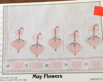 May Flowers Smocking Plate, vintage smocking plate,