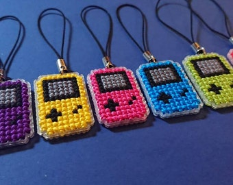 Cross stitch Gameboy colour phone accessory charm travelers notebook journal planner zipper bag charms. Double sided