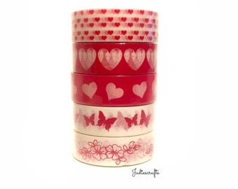Valentines Day Washi Tape | Red Love Hearts, Butterflies & Flowers