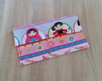 Fabric pouch for storing dolls canteen towel personalized.