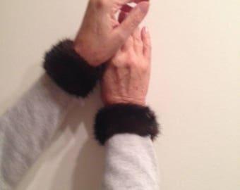 Genuine mink fur cuffs