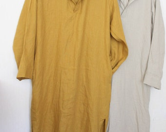"""Linen men""""s Caftan.White caftan.hooded caftan.kaftan men.Natural Lithuanian linen. Linen caftan . designed and  made by Anberlinen"""