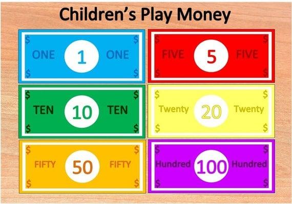 Toy Money Template : Printable children s play moneypretend moneytoy