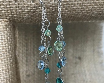 Blue and Turquoise Swarovski Crystal Earrings