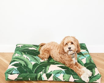 Pink Palm Frond Dog Bed // Quick Ship // Small