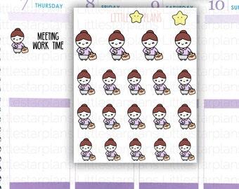 Mimi Hand Drawn Work Planner Stickers | Dressed Up Professional Outfit | Fits in Erin Condren LifePlannerTM, Kikki-K Planner