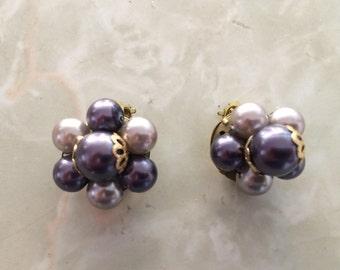 1960's vintage slate blue/ periwinkle cluster earrings