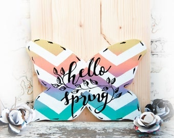 Butterfly door sign, Hello spring sign for front door, Spring Chevron wood door hanger, Butterfly wreath, Spring decoration, Wood wreath
