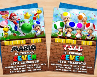 Custom Super Mario Bros and Friends // Toad Birthday Invitation - 5x7 or 4x6