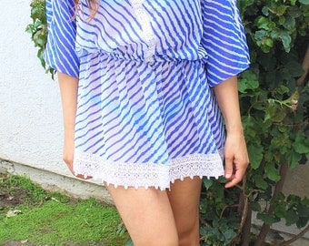 Blue beach coverup tunic, Resort, beach coverups, swimsuit coverup, Beach Cover ups ,honeymoon, Vacation wear, Beach cover-ups, Beach Tunic