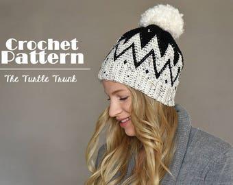 Tribal Beanie Crochet Pattern, Adult Hat Crochet Pattern, PDF Instant Download
