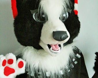Black wolf fursuit partial, wolf mascot costume, black wolf mask, toony fursuit, black fursuit for sale, black furry