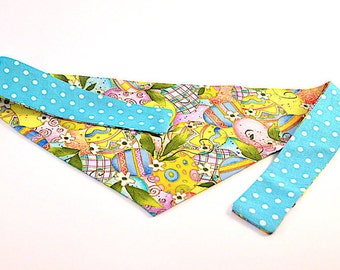 Reversible Tie-On Dog Bandana - Pastel Easter Eggs