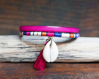 Leather bracelet girlfriend gift, Pink boho seashell jewelry for mother's day, Multistrands cuff with handmade tassel charm, Trendy fashion