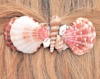 Hair Barrette with Shells, Seashell French Barrette, Ex Large Barrette