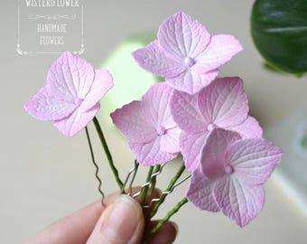 Pink hydrangea Hair pins Bride flower hair pins Wedding hair accessories Pink Flower wedding Pink wedding Hair jewelry Bridal hair flowers