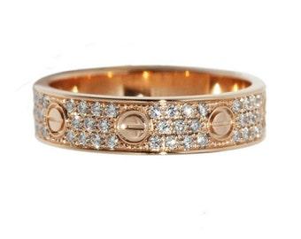 Rose gold band. Wedding bands women. Rose gold ring. Unique wedding bands for women. Gold wedding band. Anniversary ring. Wedding band women