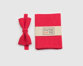 red bow tie and red pocket square mens gift