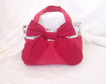 Red tote bag/ Handbag/ Small tote bags/ Bow bag/ Shoulder bag/ Fabric bag/ Tote bags/ Handmade bag/ Light weight tote/ Part recycled