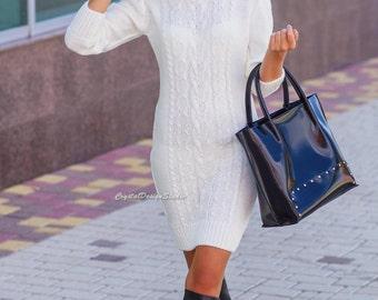 White wool minidress Winter knitted dress Womens Gray dress White Knit tunic Winter Mini dress womens long sleeve Oversized dress warm dress