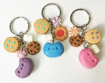 Candy key chain pusheenes cookies marshmallows chocolate chips candy macarons pusheen pink blue purple sugar fake food mini colors