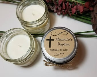 12 - 4 oz Baptism Favors - Baptism Candles - Baby Boy Baptism - Christening Favors - Baby Girl Baptism - Candle for Guests - Candle Favors