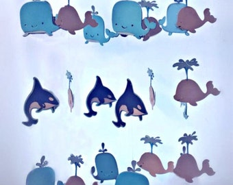 Whale Nursery Mobile,  Whale Baby Mobile - Whale Mobile, Whale Nursery Decor, Baby Mobile, Nursery Mobile, Ceiling Mobile, Whale Baby Shower