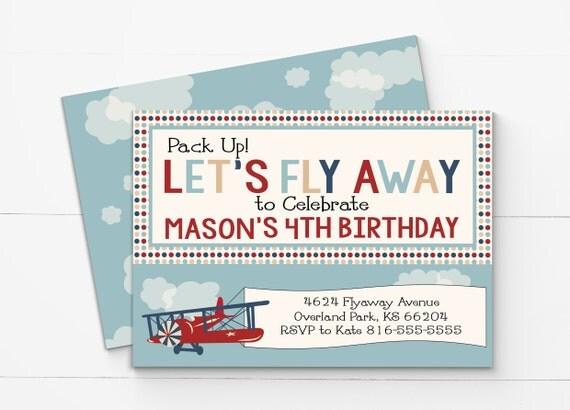 Vintage airplane birthday invitation airplane invitation il570xn filmwisefo