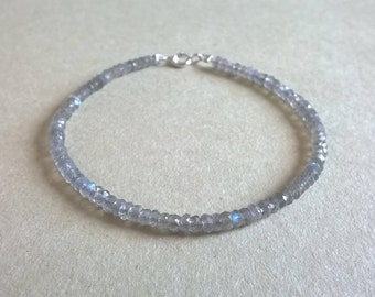 Delicate bracelet of labradorite and sterling silver closure