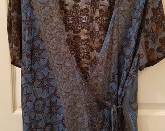 Vintage Saint Tropez Wear Brown & Turquoise Wrap Around Top by Carole Little