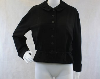 Black 40-50s Wool Jacket Slouchy Nipped Waist with Matching Belt Fashioned by Rauch Designer by MADELEINE DE RAUCH Rockabilly PinUp New Look