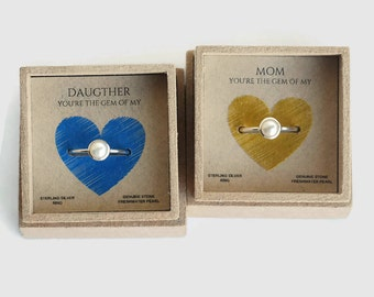 gift mom, mothers day gift, mother daughter jewelry, mothers day jewelry, mothers day from daughter, mom jewelry, mother daughter rings